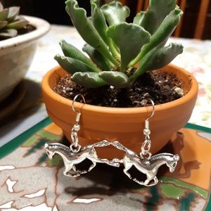 Jewelry - Silver Running Horse earrings